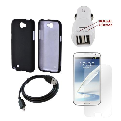Samsung Galaxy Note 2 Essential Bundle Package w/ Black Rubberized Hard Case, Trident Car Charger (3100 mAh), & Screen Protector