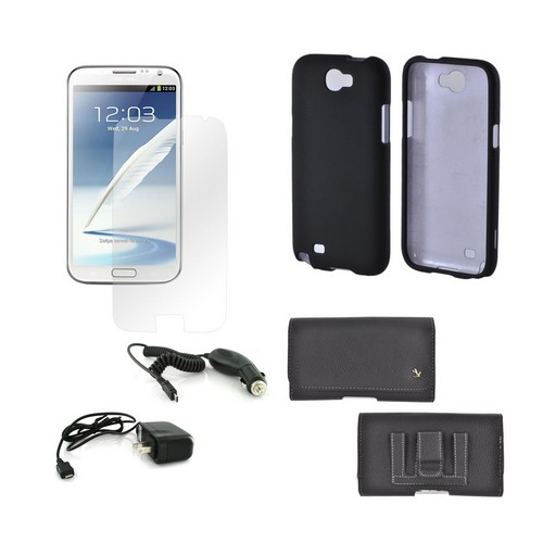 Samsung Galaxy Note 2 Essential Combo Package Premium Horizontal Pouch, Black Rubberized Hard Case, Car Charger, Travel Charger, & Screen Protector