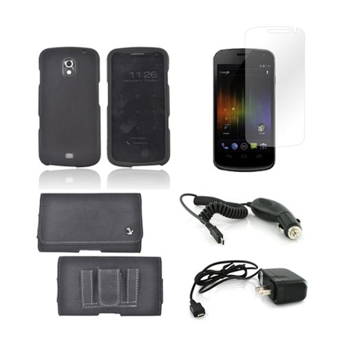 Samsung Galaxy Nexus Essential Bundle Package w/ Black Rubberized Hard Case, Screen Protector, Leather Pouch, Car & Travel Charger