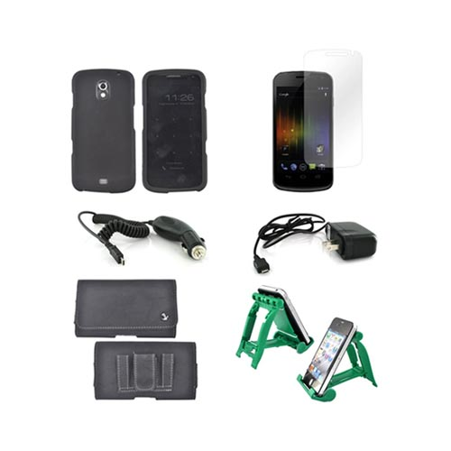Samsung Galaxy Nexus Essential Bundle Package w/ Black Rubberized Hard Case, Screen Protector, Leather Pouch, Car & Travel Charger, and Green 3Feet Holder Stand