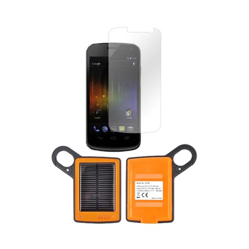 Samsung Galaxy Nexus Package: Dicapac Waterproof Phone Case, Anti-glare Screen Protector, Solar Charger, 3.5mm Earbuds, Portable Keychain Kick Stand