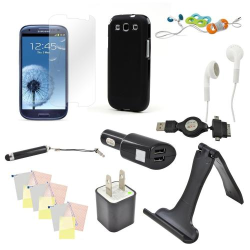 12 Item Combo With: Black Crystal Skin Case, Dual Usb Charger Adapter, Usb Wall Charger Adapter, 4 Screen Protectors, and more! For Samsung Galaxy S3