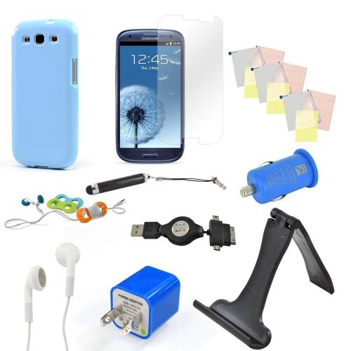 12 Item Combo W/ Sky Blue Crystal Silicone Skin Case, Blue Car & Home Usb Charger Adapters, 4 Screen Protectors, ands more! For Samsung Galaxy S3