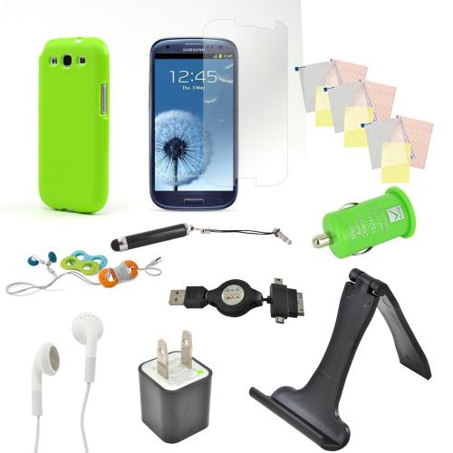 12 Item Combo W/ Lime Green Crystal Silicone Skin Case, Car & Home Usb Charger Adapters, 4 Screen Protectors, and more! For Samsung Galaxy S3