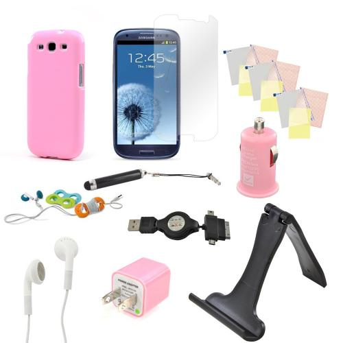12 item Bundle w/ Baby Pink Crystal Silicone Skin Case, Baby Pink Car & Home USB Charger Adapters, 4 Screen Protectors, Retractable Data/ Charger Cable, Stand, Cable Organizers, Extendable Stylus, & Stereo Headset w/ Answer/ End Button for Samsung Galaxy