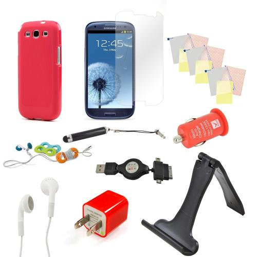 12 Item Combo W/ Red Crystal Silicone Skin Case, Red Car & Home Usb Charger Adapters, 4 Screen Protectors, and more! For Samsung Galaxy S3