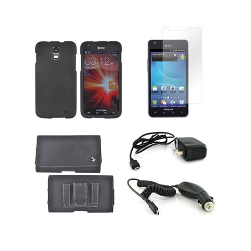 Samsung Galaxy S2 Skyrocket Essential Bundle Package w/ Black Rubberized Hard Case, Screen Protector, Leather Pouch, Car & Travel Charger