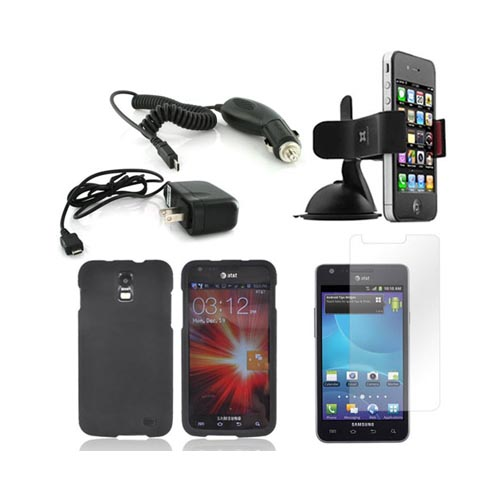 Samsung Galaxy S2 Skyrocket Essential Bundle Package w/ Black Rubberized Hard Case, Screen Protector, Car & Travel Charger, & Windshield Car Mount