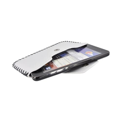 Original Zenus Samsung Galaxy S2 Prestige Handcrafted Stich Leather Pouch Case, SAGS2-PH5PO-WH - White/ Black