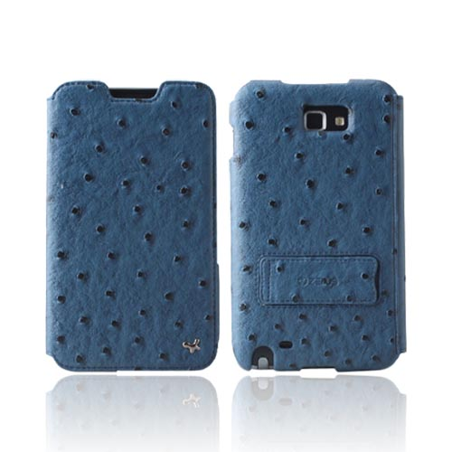 Original Zenus Galaxy Note Masstige Ostrich Diary Series Leather Case w/ ID Slots & Kickstand, SAGXN-MO5DY-NV - Navy