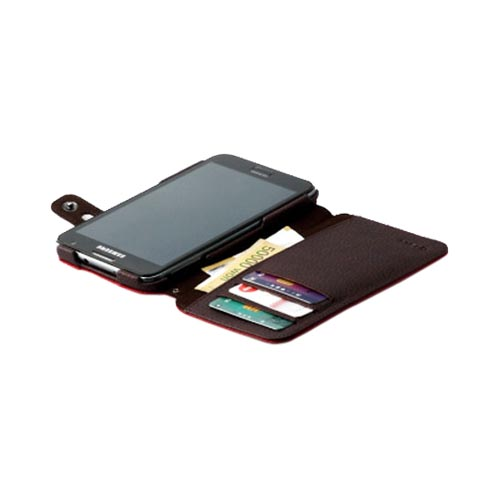 Original Zenus Samsung Galaxy Note Masstige Color Edge Diary Series Leather Case w/ ID Slots & Kickstand, SAGXN-MP5DY-RD - Wine Red/ Brown