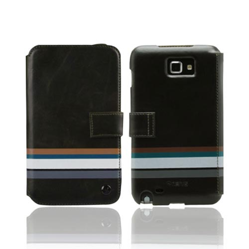 Original Zenus Samsung Galaxy Note Stripe Print Folder Series Leather Case w/ Hand Strap, SAGXN-MP5FD-BK - Black w/ Stripes