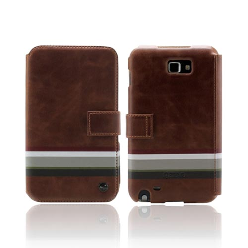 Original Zenus Samsung Galaxy Note Masstige Stripe Print Folder Series Leather Case w/ Hand Strap, SAGXN-MP5FD-BW - Camel Brown w/ Stripes