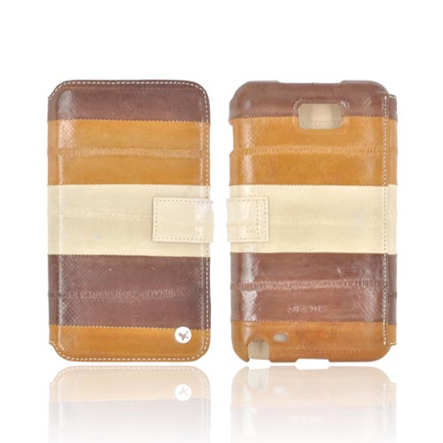 Original Zenus Samsung Galaxy Note Prestige Eel Skin Diary Series Leather Case w/ ID Slots, SAGXN-PE5DY-ASBW - Brown/ Cream/ Tan