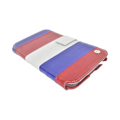 Original Zenus Samsung Galaxy Note Prestige Eel Skin Diary Series Leather Case w/ ID Slots, SAGXN-PE5DY-ASRD - Red/ White/ Blue
