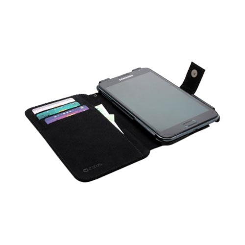 Original Zenus Samsung Galaxy Note Prestige Stripe Embo Diary Series Leather Case w/ ID Slots & Wrist Strap, SAGXN-PLEDY-BK - Black