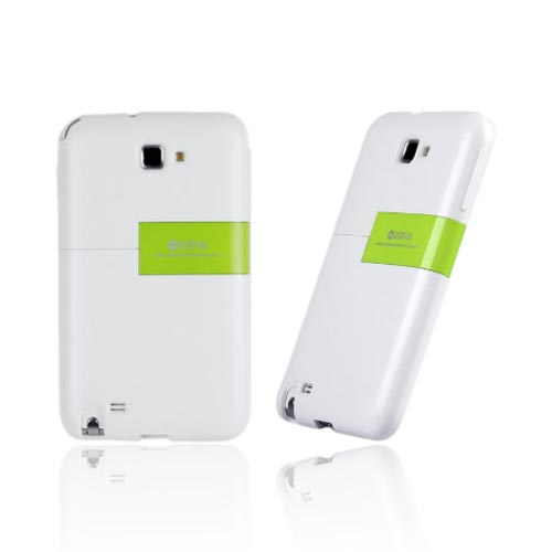 Original Zenus Samsung Galaxy Note Capsule Slide Series Hard Case w/ Kickstand, SAGXN-TS1SJ-WHLM - White/ Lime Green
