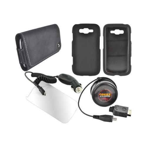 Samsung Focus 2 Essential Bundle Package w/ Black Rubberized Hard Case, Screen Protector, Leather Pouch, Car & Travel Charger