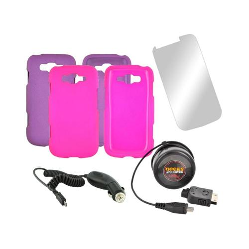 Samsung Focus 2 Essential Girly Bundle Package w/ Hot Pink & Purple Rubberized Hard Case, Mirror Screen Protector, Car & Travel Charger