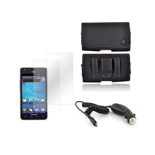 AT&T Samsung Galaxy S2 Basic Bundle Package w/ Leather Pouch, Universal Dual USB Car Charger w/ Micro USB Data Cable, & 2 Pack Screen Protector