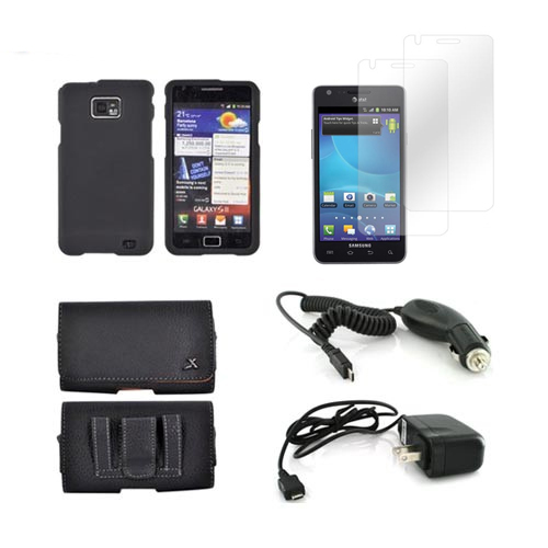 AT&T Samsung Galaxy S2 Essential Bundle Package w/ Black Rubberized Plastic Case, 2 Pack Screen Protector, Leather Pouch, Car & Travel Charger