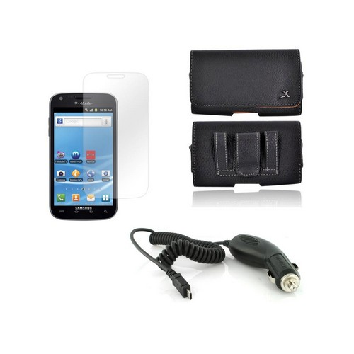 AT&T Samsung Galaxy S2 Essential Bundle Package w/ Premium Horizontal Leather Pouch, Screen Protector, &  Car Charger