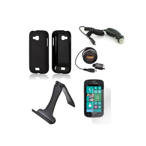 Samsung ATIV Odyssey Essential Bundle Package w/ Black Rubberized Hard Case, Screen Protector, Portable Stand, Car & Travel Charger