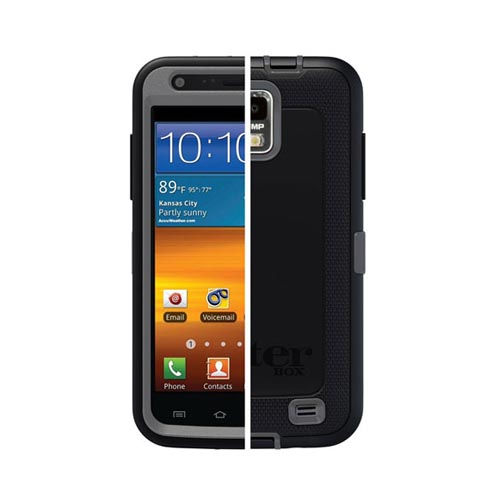 Original Otterbox Samsung Galaxy S2 Skyrocket Defender Series Silicone Over Hard Case w/ Holster & Built-In Screen Protector, SAM2-I727X-J5-E4OTR - Black/ Gray