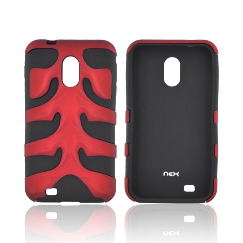 Original Nex Samsung Epic 4G Touch Rubberized Hard Fishbone on Silicone Case w/ Screen Protector, SAMD710FB03 - Red/ Black