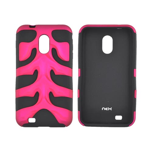 Original Nex Samsung Epic 4G Touch Rubberized Hard Fishbone on Silicone Case w/ Screen Protector, SAMD710FB05 - Rose Pink/ Black