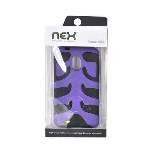 Original Nex Samsung Epic 4G Touch Rubberized Hard Fishbone on Silicone Case w/ Screen Protector, SAMD710FB08 - Purple/ Black