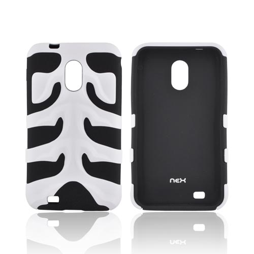 Original Nex Samsung Epic 4G Touch Rubberized Hard Fishbone on Silicone Case w/ Screen Protector, SAMD710FB21 - White/ Black