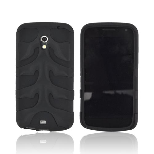 Original Nex Samsung Galaxy Nexus Rubberized Hard Fishbone on Silicone Case w/ Screen Protector, SAMI515FB02 - Black