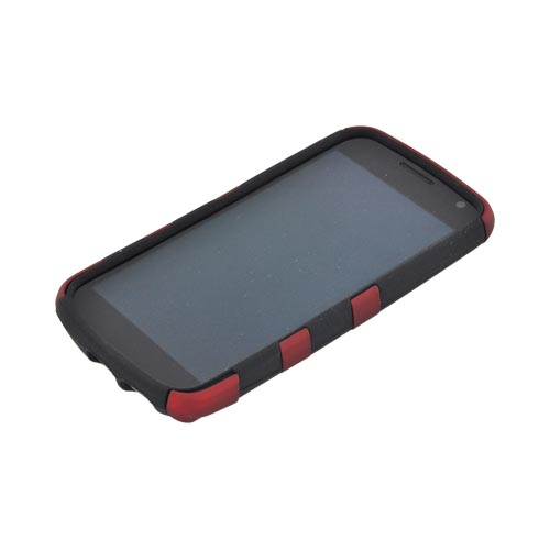 Original Nex Samsung Galaxy Nexus Rubberized Hard Fishbone on Silicone Case w/ Screen Protector, SAMI515FB03 - Red/ Black