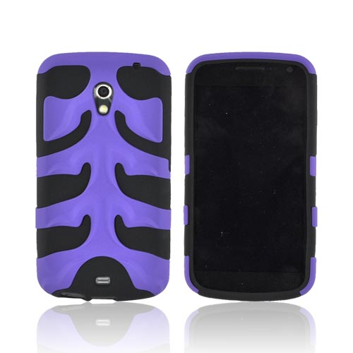 Original Nex Samsung Galaxy Nexus Rubberized Hard Fishbone on Silicone Case w/ Screen Protector, SAMI515FB08 - Purple/ Black