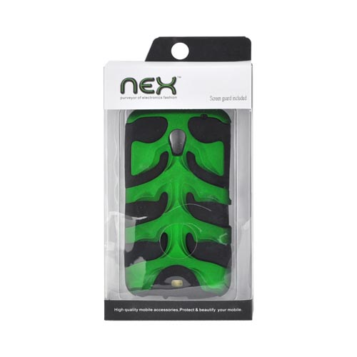 Original Nex Samsung Galaxy Nexus Rubberized Hard Fishbone on Silicone Case w/ Screen Protector, SAMI515FB10 - Green/ Black