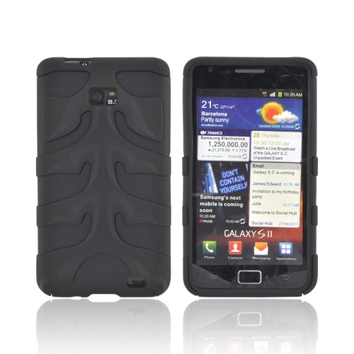 Original Nex AT&T Samsung Galaxy S2 Rubberized Hard Fishbone on Silicone Case w/ Screen Protector, SAMI777FB02 - Black