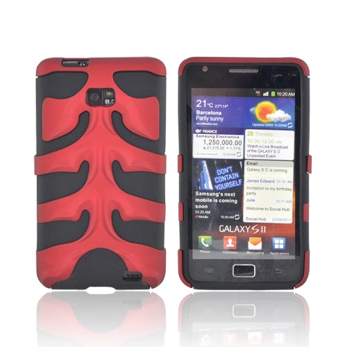 Original Nex AT&T Samsung Galaxy S2 Rubberized Hard Fishbone on Silicone Case w/ Screen Protector, SAMI777FB03 - Red/ Black