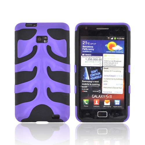 Original Nex AT&T Samsung Galaxy S2 Rubberized Hard Fishbone on Silicone Case w/ Screen Protector, SAMI777FB08 - Purple/ Black