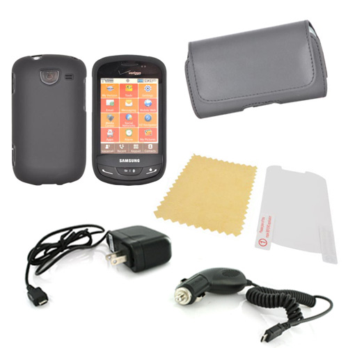 Samsung Brightside Essential Bundle Package w/ Black Rubberized Hard Case, Screen Protector, Leather Pouch, Car & Travel Charger