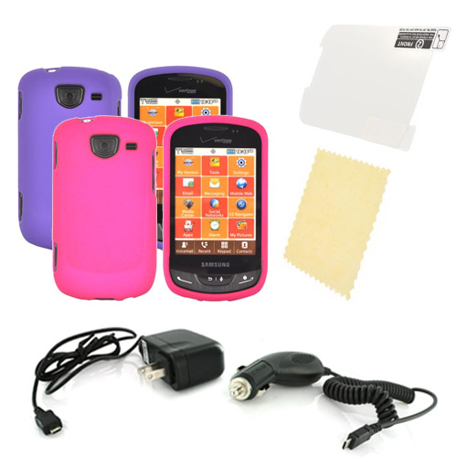 Samsung Brightside Essential Girly Bundle Package w/ Hot Pink & Purple Rubberized Hard Case, Mirror Screen Protector, Car & Travel Charger??