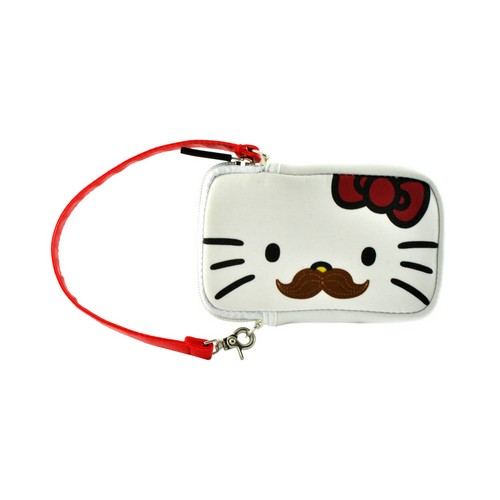 Hello Kitty w/ Cute Mustache Universal Camera & Phone Neoprene Pouch w/ Wrist Strap
