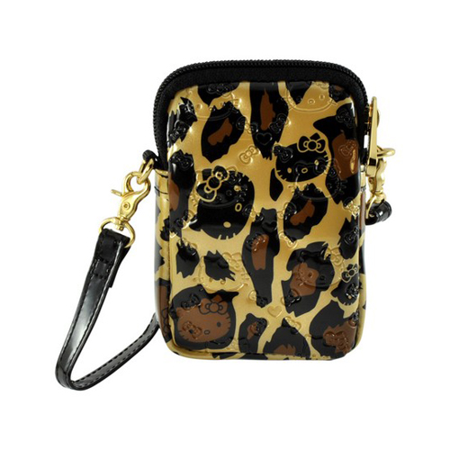 Hello Kitty Leopard Print Universal Camera & Phone Patent Leather Pouch w/ Wrist Strap