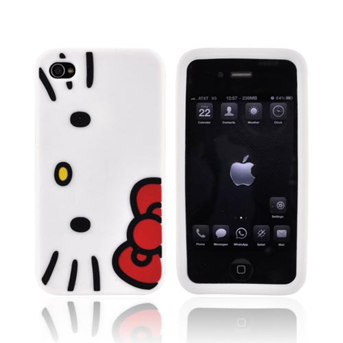 Original Hello Kitty Apple AT&T/ Verizon iPhone 4, iPhone 4S Silicone Case, SANCC0046 - White Hello Kitty Face w/ Red Bow