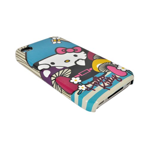 Original Hello Kitty AT&T/ Verizon Apple iPhone 4, iPhone 4S Hard Back Cover Case, SANCC0056 - Gnome Hello Kitty w/ Purple/ Yellow Mushrooms