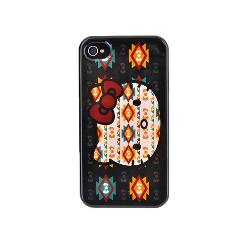 Original Hello Kitty Apple iPhone 4/4S Hard Back Cover Case, SANCC0067 - Navajo Hello Kitty on Black
