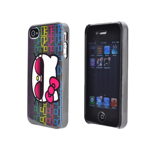 Original Hello Kitty Apple iPhone 4/4S Hard Back Cover Case, SANCC0070 - Hipster Hello Kitty on White