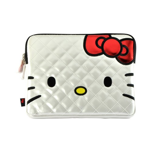 White Quilted Hello Kitty Apple iPad (All Gen.) Patent Leather Pouch Case