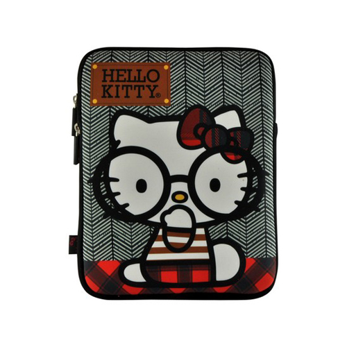 Hello Kitty w/ Big Nerdy Glasses Apple iPad (All Gen.) Neoprene Pouch Case