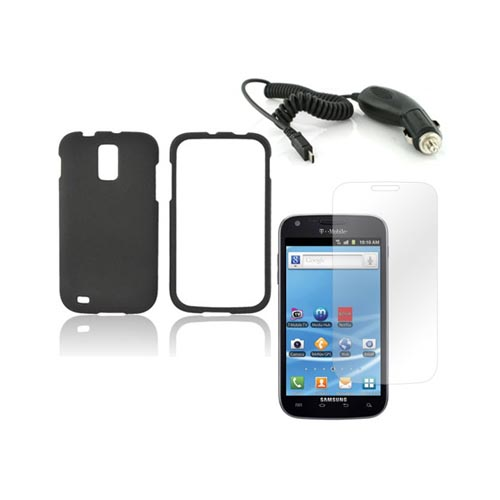 T-Mobile Samsung Galaxy S2 Basic Bundle Package w/ Black Rubberized Hard Case, Screen Protector, and Car Charger